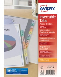 Avery Intercalaires à onglets personnalisables, 6 positions, A4, Polypro 18/100E, 5611501