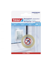 Tesa Powerbond, Adhésif de montage, Double face, 19mm x 1.5m, Transparent, 77740-00000-00