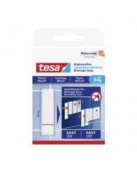 Tesa Powerstrips, Languettes adhésives transparentes, Carrelage et métal, 3kg, Blanc, boîte de 6,77761-00000-00