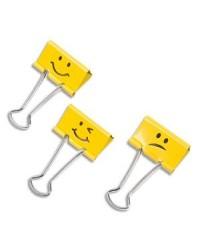 Rapesco Pince double clips, Emoji jaune, Lot de 20, 1351
