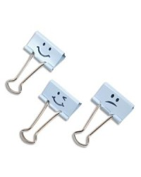 Rapesco lot de 20 double clips emoji assortis bleu poudré 1350