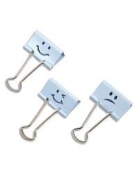 Rapesco Pince double clips, Emoji bleu, Lot de 20, 1350