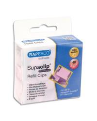 Rapesco boîte de 100 recharge clips rose poudre 1312