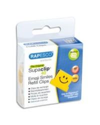 Rapesco boîte de 100 recharges clips emoji jaune 1380