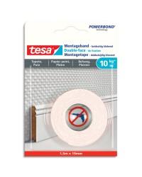 Tesa Powerbond, Ruban adhésif de montage, Double face, 19mm x 1.5m, Papier peint, 77742-00000-00