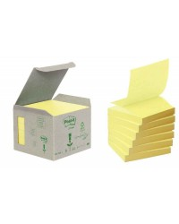 Post it Notes adhésives recyclées, 76x76mm, Z-Notes jaune, Tour de 6, R330-1B / FT510280108 / BP324
