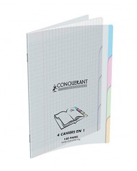 Conquerant Cahier 4 en 1 , 17x22mm, Onglets intercalaires, Grands carreaux séyès, 140 pages, Couverture polypro, 400026554