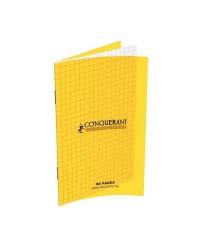 Conquerant carnet piqure 11X17 polypro JAUNE 96 pages petits carreaux 5x5 400013592