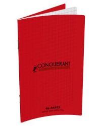 Conquerant Carnet 90x140mm, Quadrillé 5x5, 96 pages petits carreaux, Couverture polypro rouge, 400013591