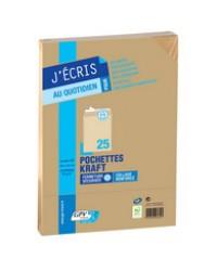 GPV paquet 25 pochettes enveloppes kraft C5 162x229 90G auto adhésives 6286