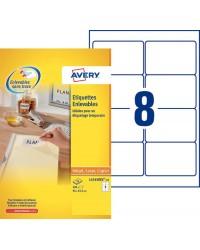 Avery boite 200 étiquettes blanches enlevables 96X63.5MM L4745REV