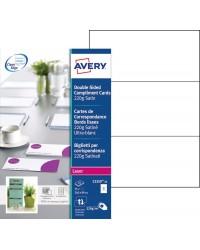 Avery paquet 75 cartes de correspondance LASER 220G 210X99 Satiné ultra blanc C2359-25