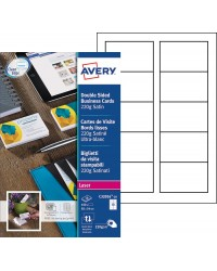 Avery paquet 100 cartes de visite bords lisses 220G satiné MAT LASER C32016-10