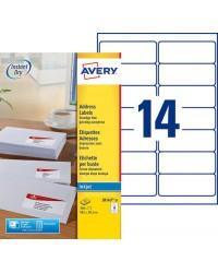 Avery boite 350 étiquettes adresses jet d'encre 99.1X38.1 J8163-25