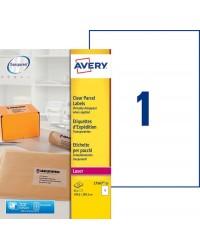 Avery paquet 25 étiquettes d'expédition transparentes A4 210X297 LASER L7567-25