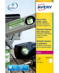 Avery Etiquettes polyester, A4 210 x 297 mm, Laser, Ultra résistant, L4775-20