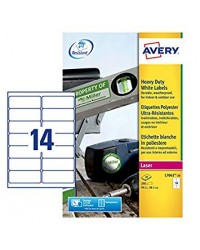 Avery Etiquettes polyester, 99.1 x 38.1 mm, Laser, Ultra resistant, L7063-20