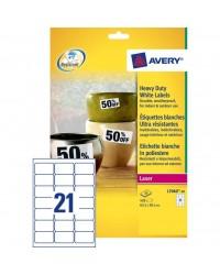 Avery Etiquettes polyester, 63.5 x 38.1 mm, Laser, Ultra résistant, L7060-20