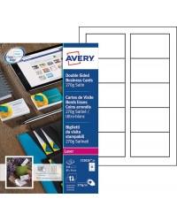 Avery Cartes de visite, 85 x 54 mm 270G, Satiné mat, Ultra blanc, Laser, C32026-25