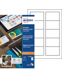 Avery Cartes de visite microperforées, 85 x 54 mm, 185G, Mat, Blanc, C32010-25