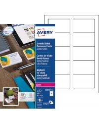 Avery paquet 250 cartes de visite 220G satiné ultra blanc LASER C32016-25
