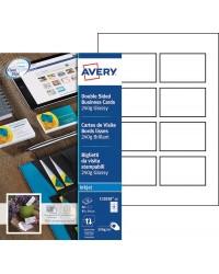 Avery paquet 80 cartes de visite 240G brillant Jet d'encre C32028-10