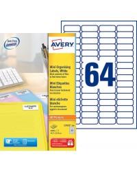 Avery boite 6400 mini étiquettes blanches 45.7X16.9 DOSSIER L7652-100