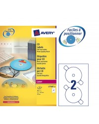Avery boite 50 étiquettes CD DVD opaques LASER L7760-25
