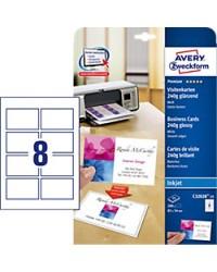 Avery paquet 200 cartes de visite 8.5x5.4 240G BRILLANT Jet d'encre C32028-25