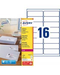 Avery paquet 4000 étiquettes adresses 99.1X33.9 LASER L7162-250