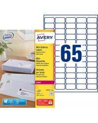Avery paquet 6500 mini étiquettes blanches 38.1X21.2 LASER L7651-100