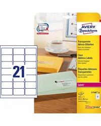 Avery paquet 525 étiquettes transparentes invisibles 63.5X38.1 LASER L7560-25