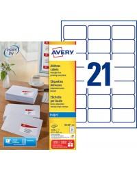 Avery paquet 2100 étiquettes adresses 63.5X38.1 Jet d'encre J8160-100