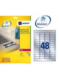 Avery paquet 960 étiquettes METAL 45.7X21 LASER L6009-20