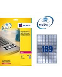 Avery paquet 3780 étiquettes METAL 25.4X10 LASER L6008-20