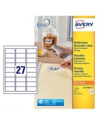 Avery paquet 810 étiquettes blanches enlevables 63.5X29.6 L4737REV-25