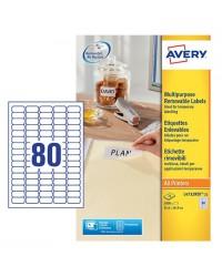 Avery paquet 2400 étiquettes blanches enlevable 35.6X17 L4732REV-25