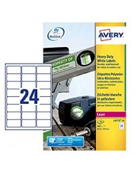 Avery paquet 480 étiquettes polyester blanches 63.5X33.9 LASER L4773-20