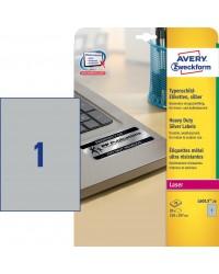 Avery paquet 20 étiquettes METAL A4 210X297 LASER L6013-20