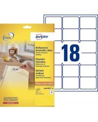 Avery paquet 540 étiquettes blanches enlevables 63.5X46.6 L6025-25