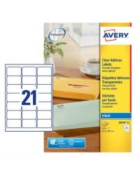 Avery paquet 525 étiquettes adresses transparentes 63.5X38.1 Jet d'encre J8560-25