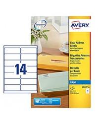 Avery paquet 350 étiquettes adresses transparentes 99.1X38.1 Jet d'encre J8563-25