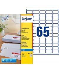 Avery paquet 1625 Mini étiquettes blanches 38.1X21.2 Jet d'encre J8651-25