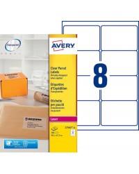 Avery paquet 200 étiquettes d'expédition transparentes 99.1X67.7 LASER L7565-25
