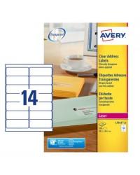 Avery paquet 350 étiquettes adresses transparentes 99.1X38.1 LASER L7563-25