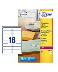 Avery paquet 400 étiquettes adresses transparentes 99.1X33.9 LASER L7562-25