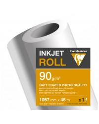 Clairefontaine Bobine de papier, Traceur jet d'encre, Mat, 1.067 mm x 45 m, 90g, 2682SC