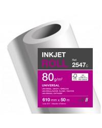 Clairfontaine bobine papier traceur 80G Clairjet 400 0.610X50 2547C