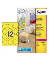 Avery paquet 300 étiquettes enlevables Jaune fluo D63.5 LASER L7670Y-25