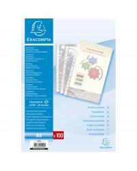 Exacompta Sachet 100 pochettes plastique perforées polypropylène lisse 6/100e - A4 Cristal 5200E